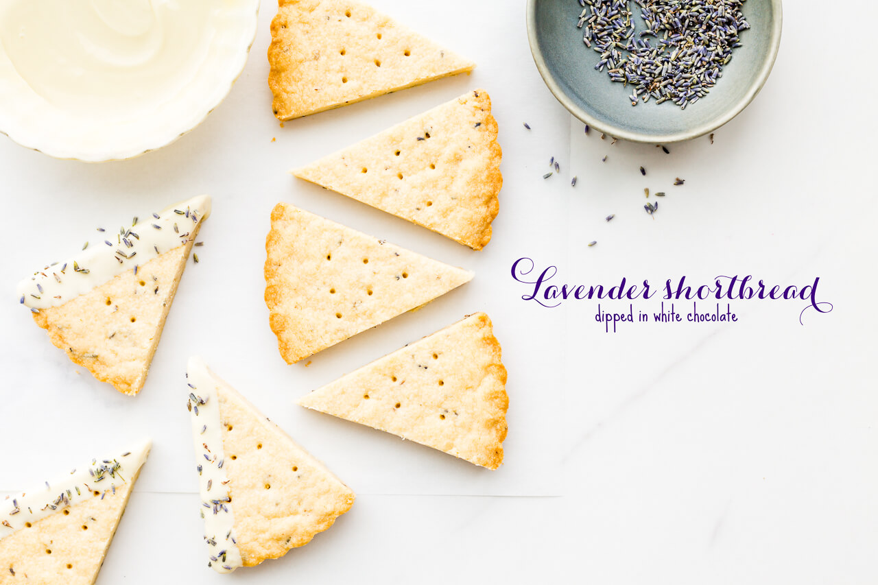 Classic shortbread cookies- lavender shortbread cut into triangles and dipped in white chocolate