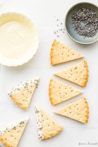 Lavender shortbread cookies dipped in white chocolate