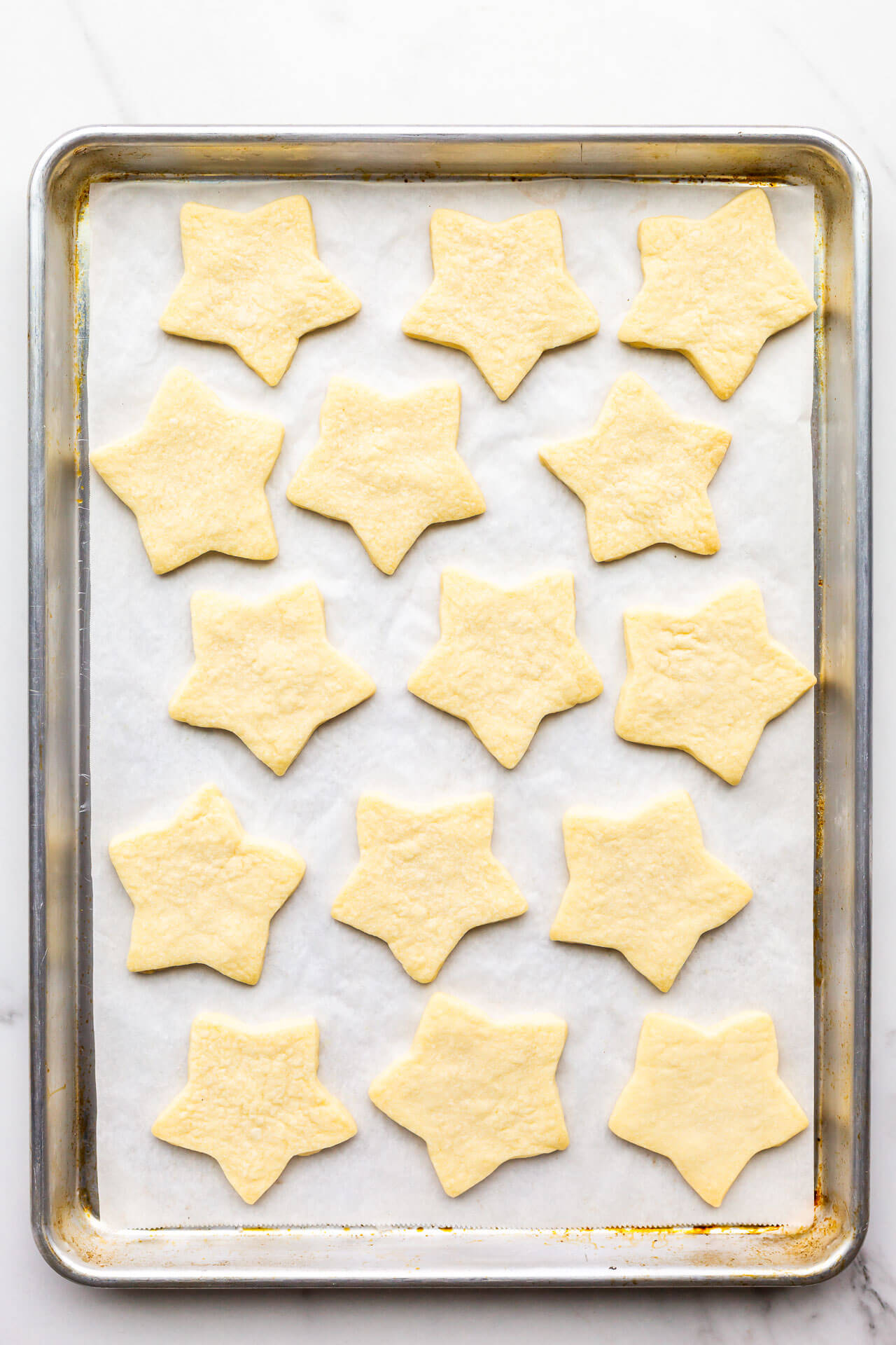 Freshly baked star-shaped shortbread cookies.