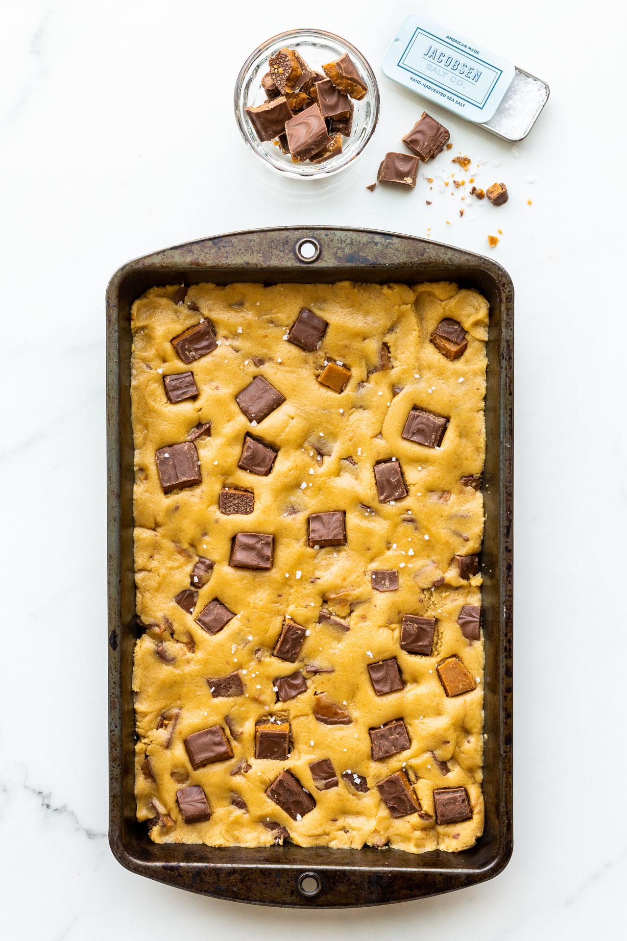 Skor blondies before baking in a 7x11 inch pan
