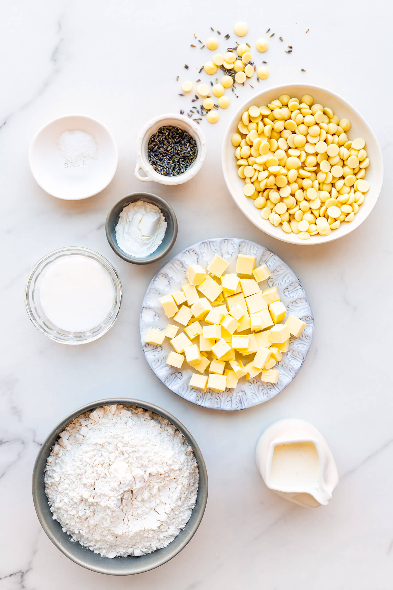 Ingredients for white chocolate lavender scones