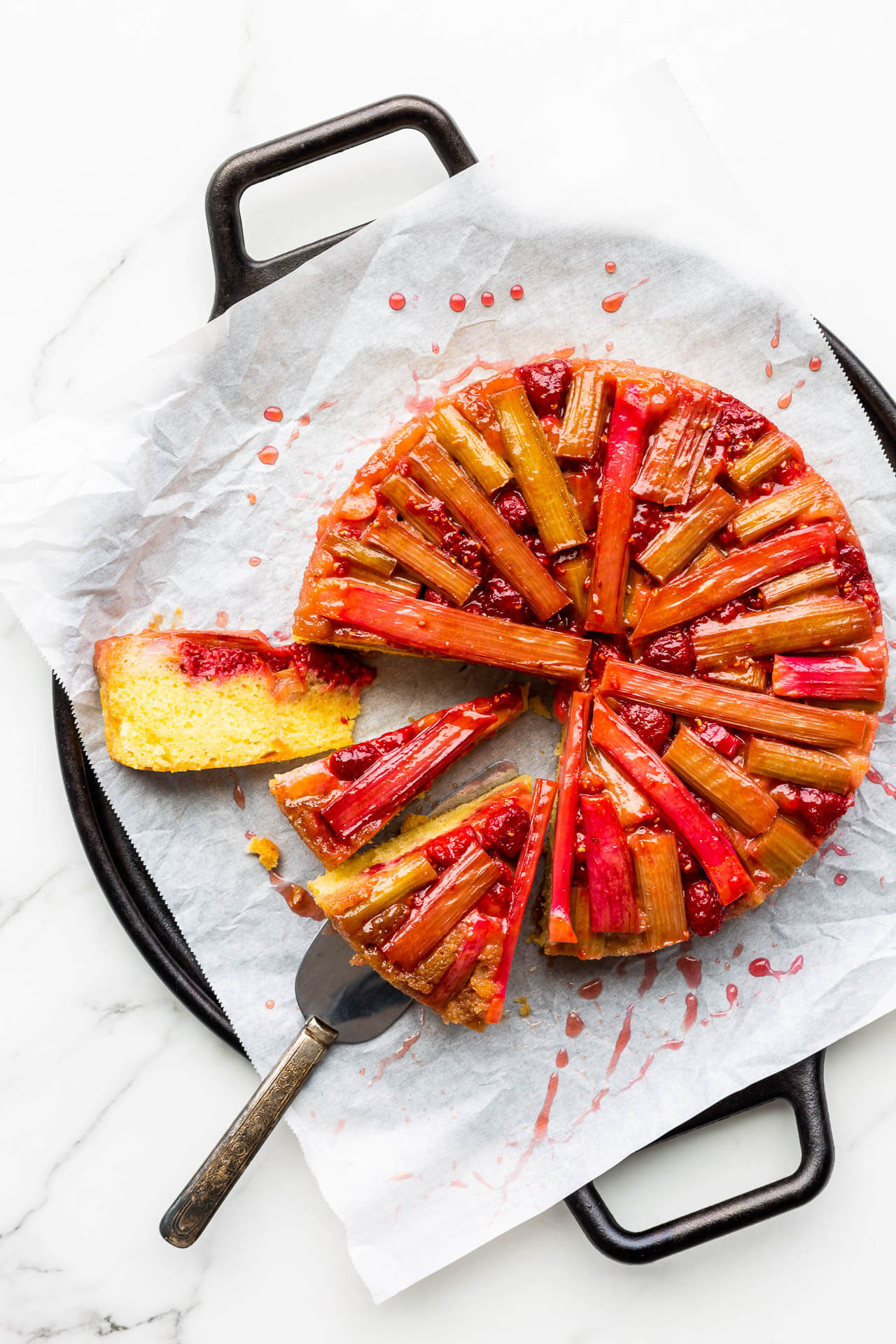 Rhubarb Raspberry Upside Down Cake Kitchen Heals Soul
