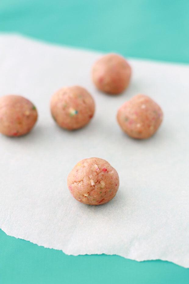 Momofuku Milk bar birthday cake truffles before coating in white chocolate and crumbs