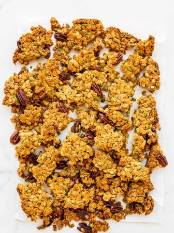Homemade granola clusters, broken up into large chunks