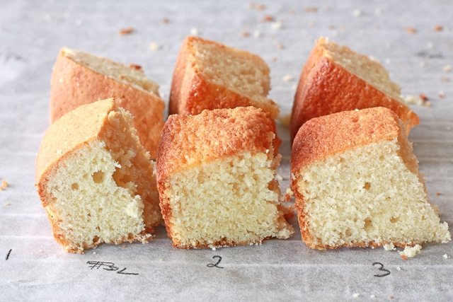 Comparing three Vanilla cake crumb to find the best vanilla cake recipe ever