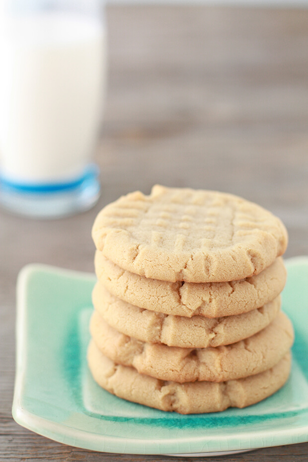 A stack of classic peanut butter cookies made with natural peanut butter