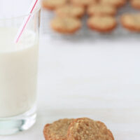 Homemade oatmeal cookies and a glass of milk make the best snack