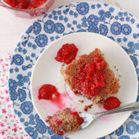 Gluten free cake with raspberries