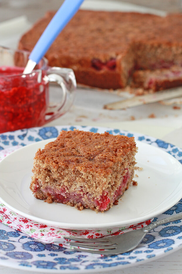 Gluten free raspberry cake cut into squares