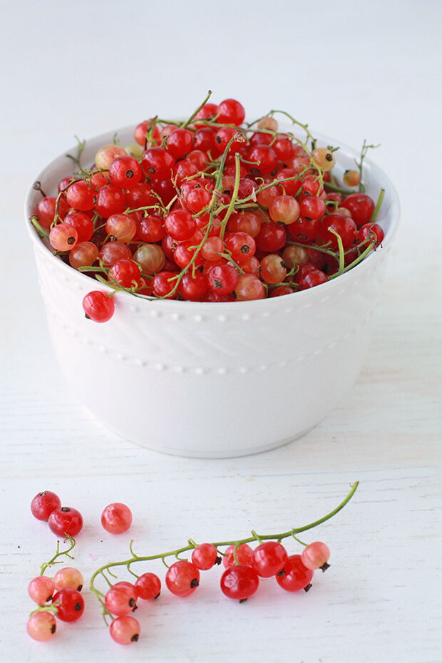 A white bowl filled with red currants