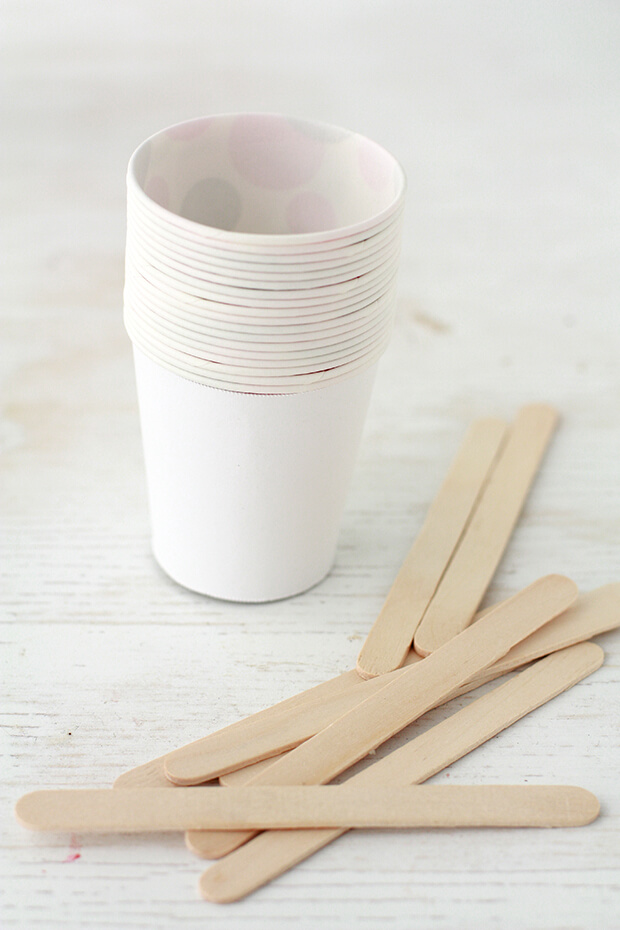 Use Dixie paper cups and popsicle sticks to make homemade popsicles