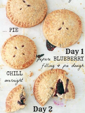 Homemade blueberry pie with all butter crust and fresh blueberry filling
