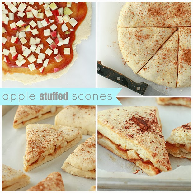 A collage showcasing how to make apple stuffed scones. Image 1 shows a disk of scone dough rolled out and topped with a smear of apple butter and chopped apple. Image 2 is the assembled stuffed dough, cutting into wedges with a knife. Image 3 is the stuffed scones before baking on a parchment-lined sheet pan. Image 4 is the baked stuffed apple pie scones