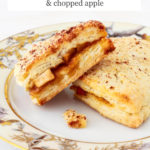 Triangle scones stuffed with apple pie filling served on a plate