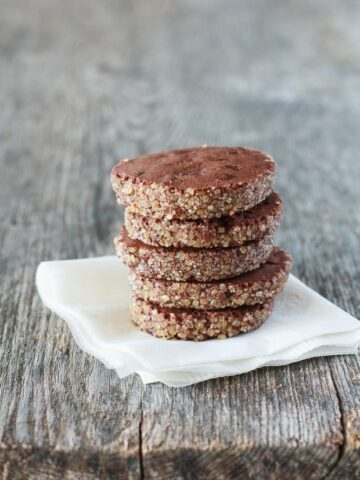 a stack of chocolate sablés