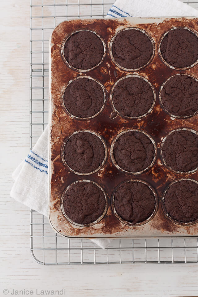 gluten-free-peanut-butter-brownies baked in a mini muffin pan