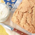 Whole wheat pumpkin bread with cream cheese frosting