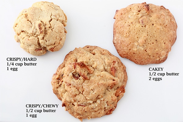 Crispy versus chewy versus cake-y whiskey apple bacon cookies