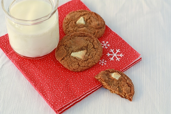ginger cookies with a glass of milk on a red christmas napkin