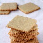 Homemade graham crackers stacked high