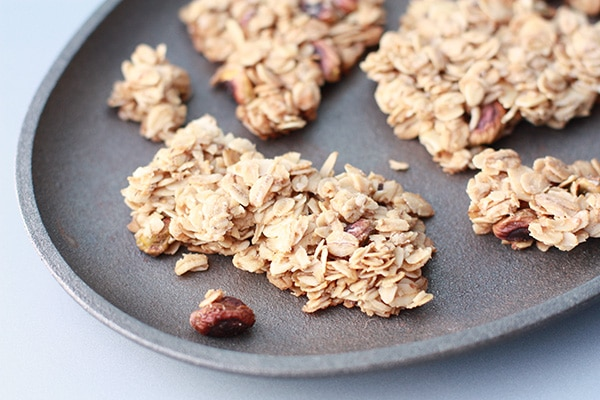 Granola clusters on a cast iron plate