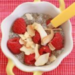 Coconut chia pudding with raspberries