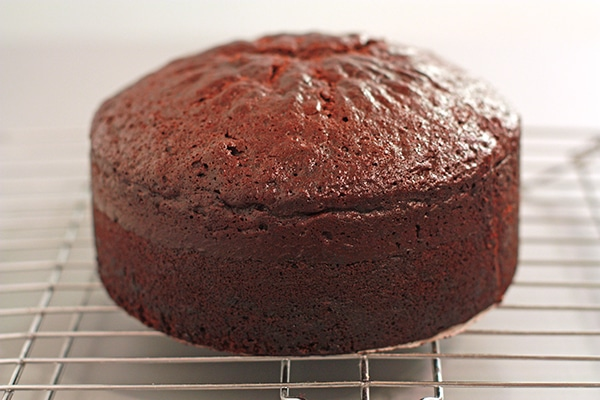 A tall chocolate cake cooling on a wire rack to show the dome that formed on top where the middle rose higher than the sides.