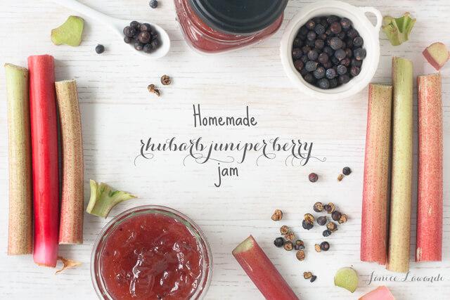 homemade rhubarb jam with juniper berries and stalks of rhubarb