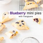 Blueberry mini pies with frangipane, triangle shaped mini pies