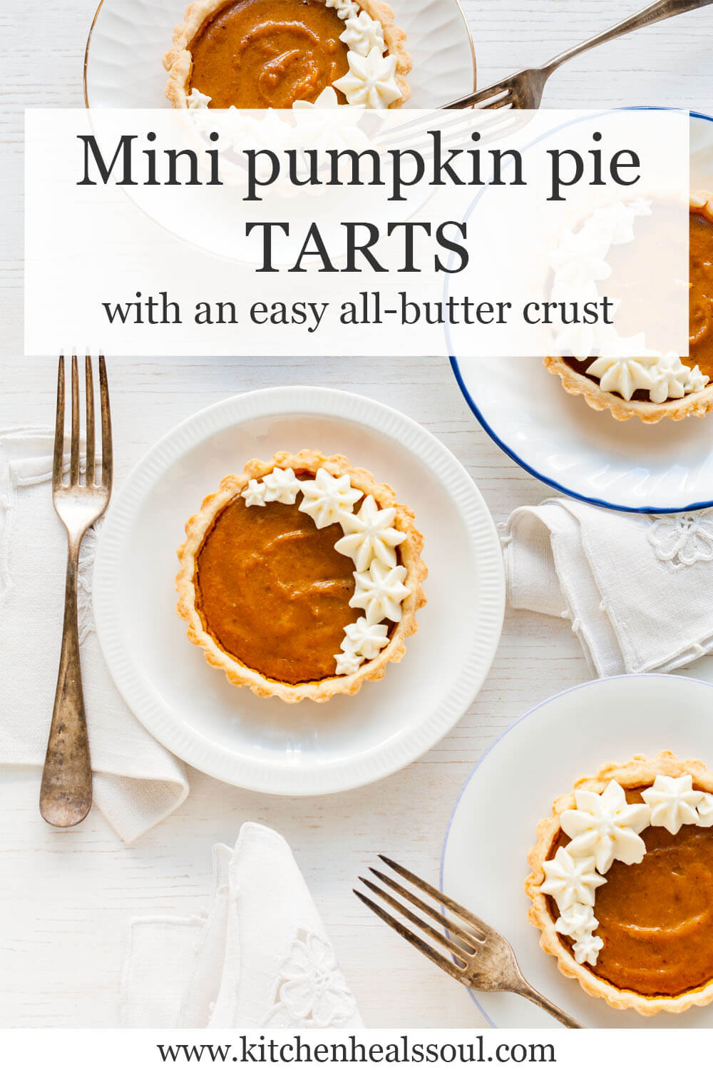 Mini pumpkin pie tarts served on white plates with forks