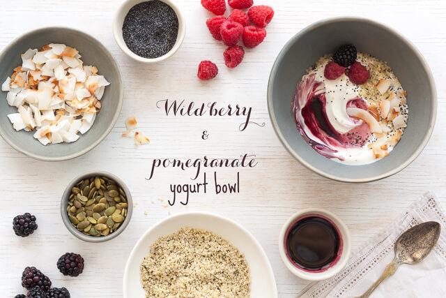 Wild berry pomegranate yogurt bowl