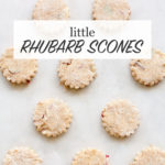 Mini rhubarb scones with crinkle edges before baking on parchment paper lined baking sheet