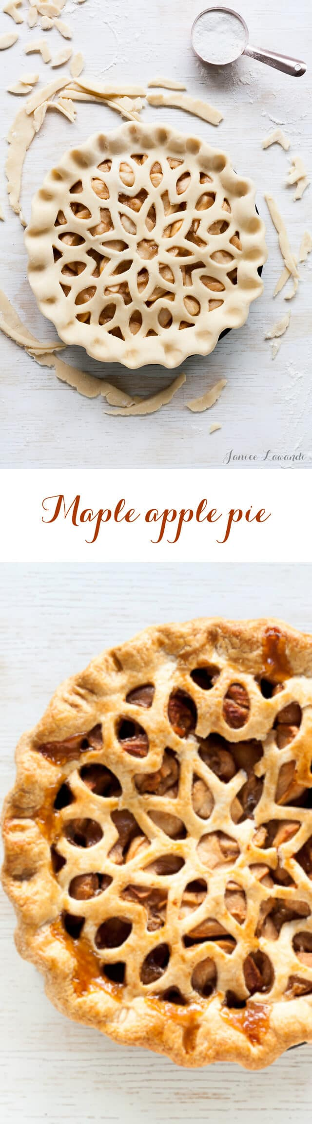 Maple apple pie made with maple roasted apples and an all-butter crust