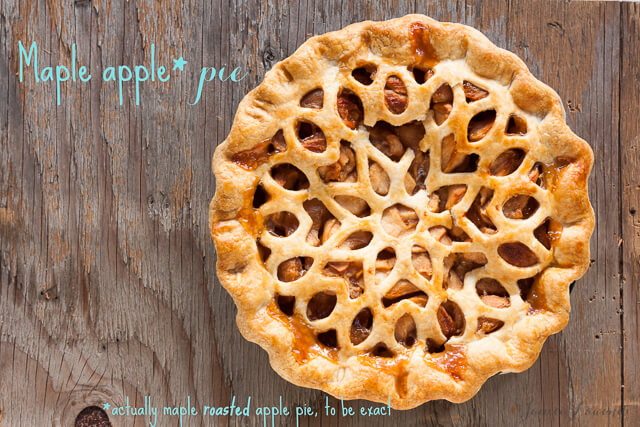 maple apple pie with roasted apples