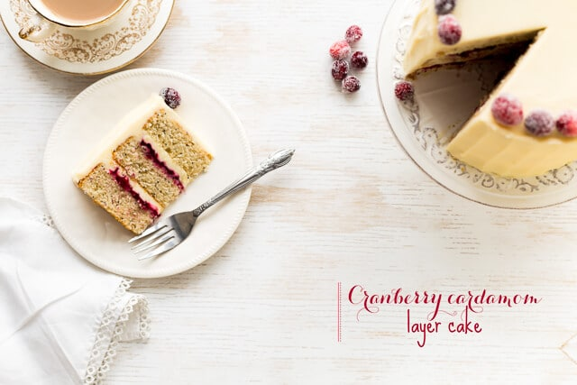 Cranberry cardamom cake with cream cheese frosting and sugared cranberries