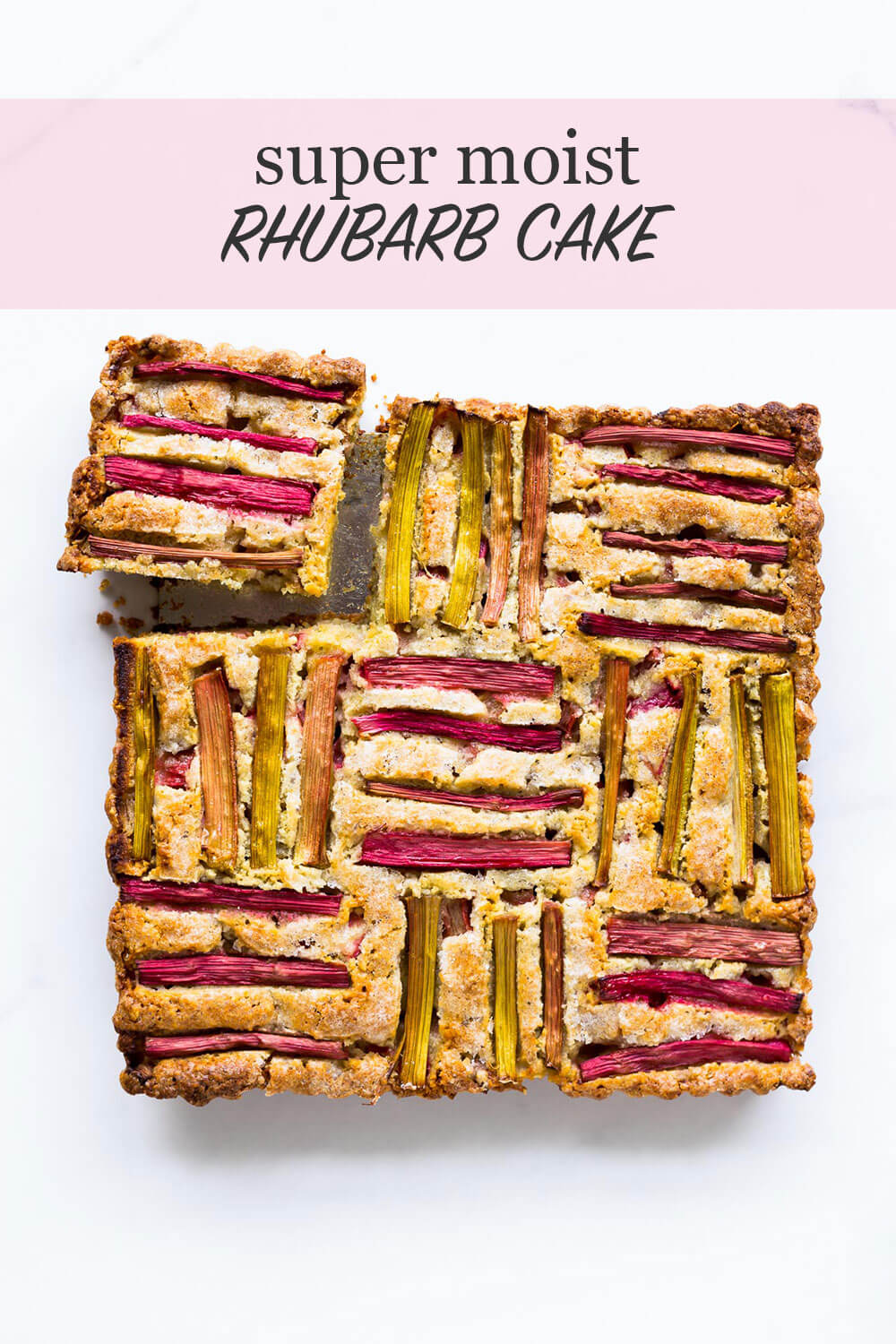 Rhubarb cake with rhubarb arrangement in woven pattern