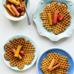 Roasted rhubarb with multigrain waffles
