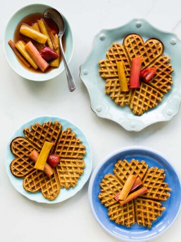 Multigrain waffles with roasted rhubarb | www.kitchenhealssoul.com