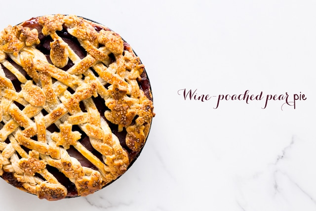 wine-poached pear pie