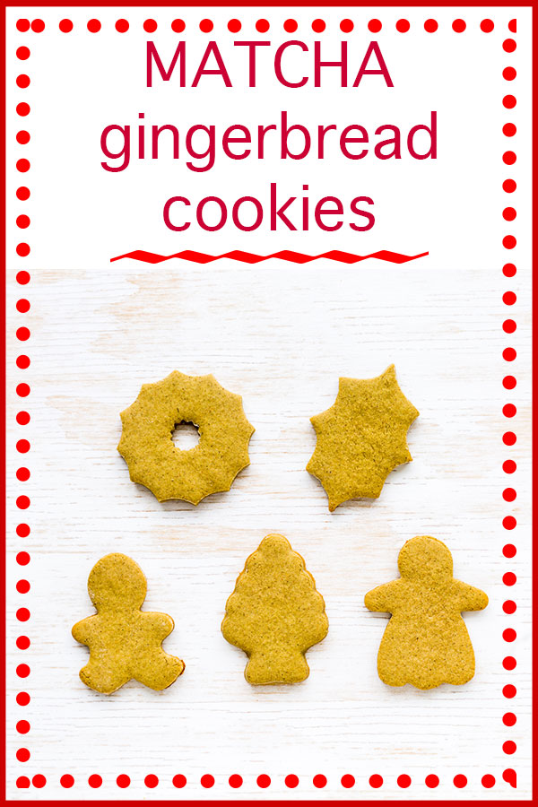 Matcha gingerbread cutout cookies in the shapes of a wreath, a holly leaf, a boy, a matcha treat, and a girl