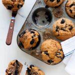 Low sugar blueberry bran muffins
