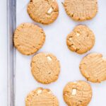 Thick chewy peanut butter cookies with white chocolate chunks