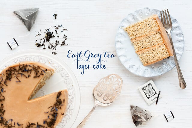 This Earl grey tea cake is a layer cake infused with Earl Grey tea. Earl Grey tea is used in the cake layers, in the Earl Grey frosting, and in the garnish.
