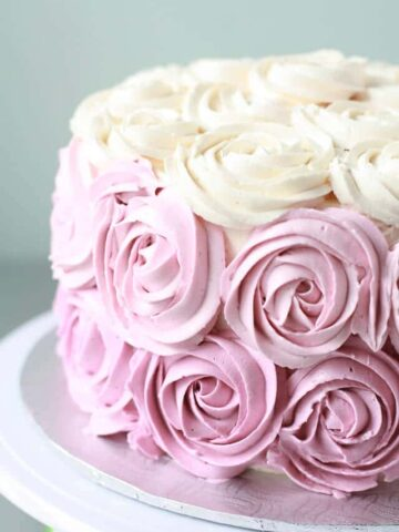 Italian meringue buttercream piped with 1M Wilton tip to make a rose cake