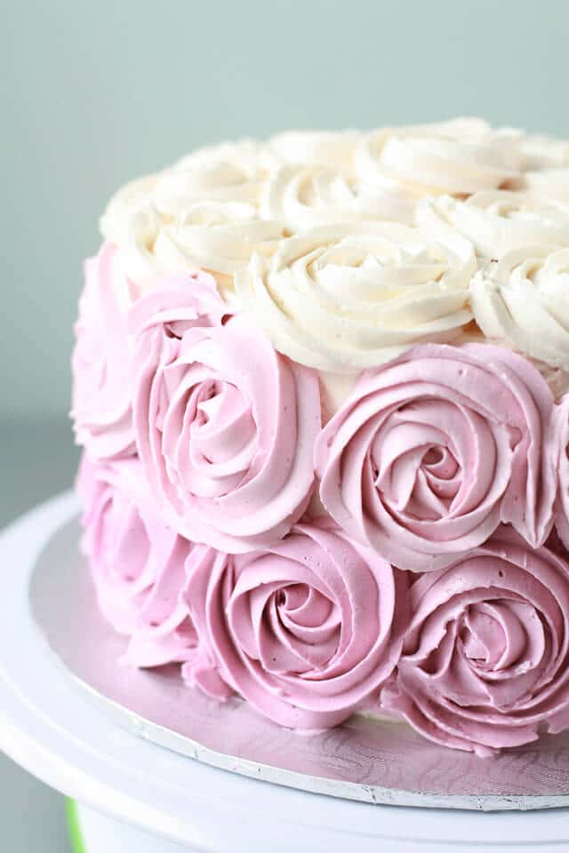 Italian meringue buttercream coloured pink and piped with 1M Wilton tip to make a rose cake