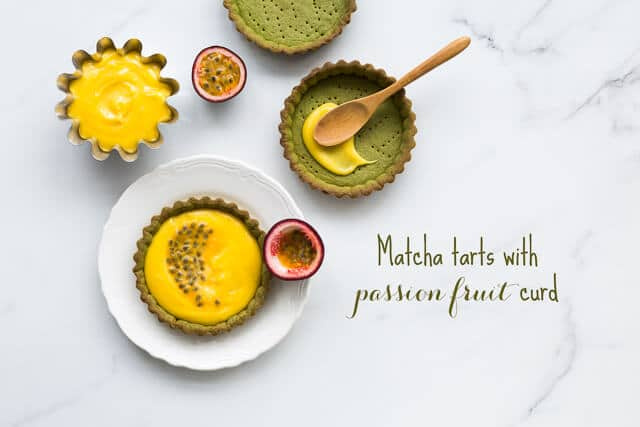 Matcha tarts with passion fruit curd filling have a matcha cookie crust and passion fruit filling