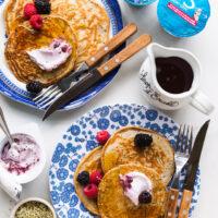 Oikos Super Grains Greek Yogurt pancakes with berries