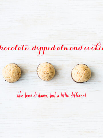 These chocolate dipped almond cookies are similar to baci di dama