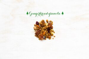 gingerbread granola - granola sweetened with molasses and gingerbread spice mix, with candied ginger and lots of nuts