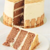 sliced spice cake with cream cheese frosting